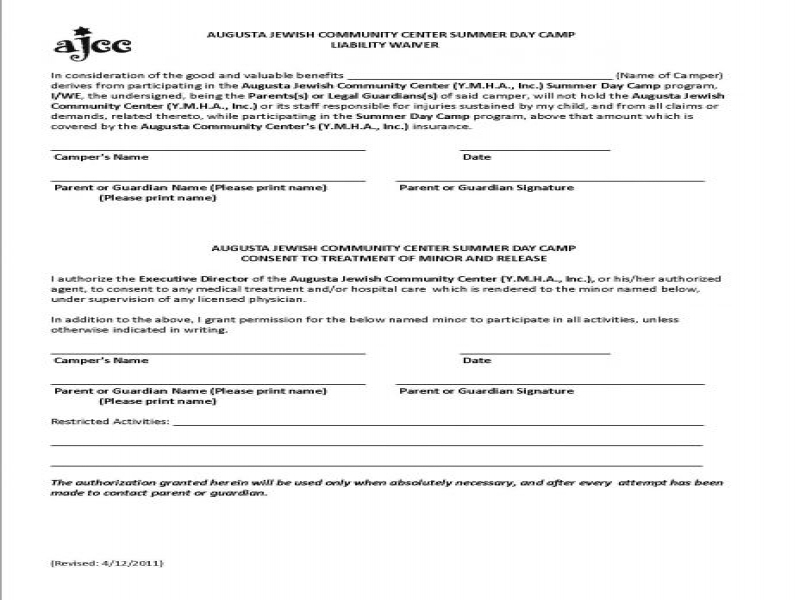 Printable Release Of Liability Form Generic Liability Waiver – General Liability Waiver Form