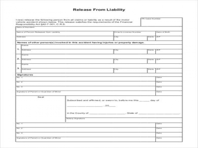 Doc Letter Of Release Of Liability  Liability Release Forms By