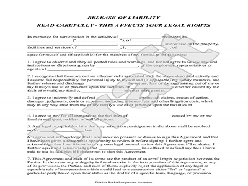 Release Of Liability Form For Car Release Of Liability Form Waiver – Sample Release of Liability