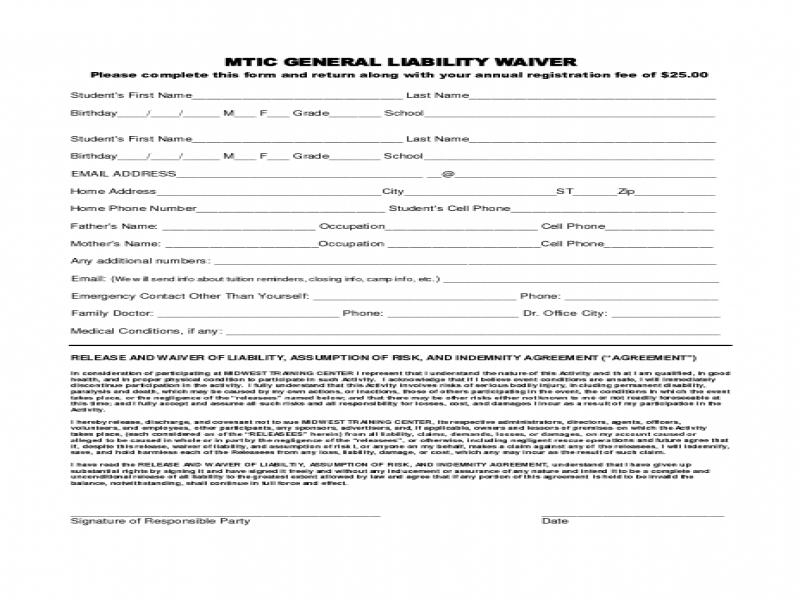 Doc7201024 Free Release of Liability Form Printable Sample – Release of Liability Template Free